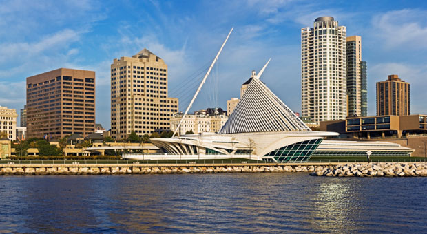 View of the Calatrava Art Museum from the Milwaukee Harbor